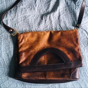 Valentino Fold Over Pony Hair Bag